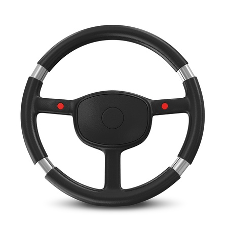 Black Steering Wheel on white background Stock Photo - 20217226