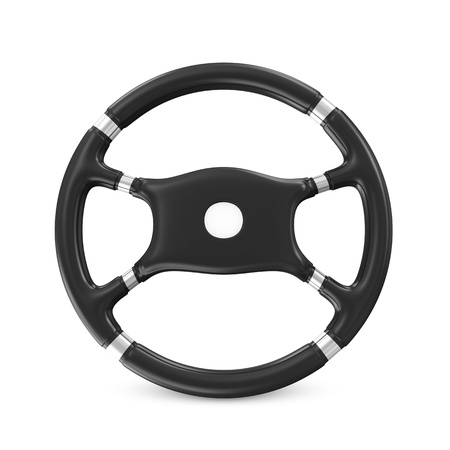 Black Steering Wheel on white background