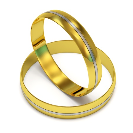 Wedding Rings in Gold with a White Gold Insert on white background photo