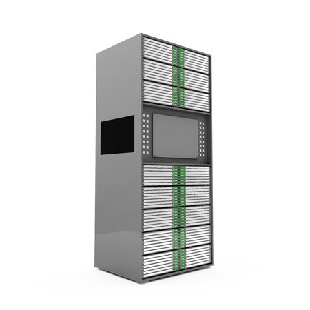 renderfarm: Modern Server Rack isolated on white background