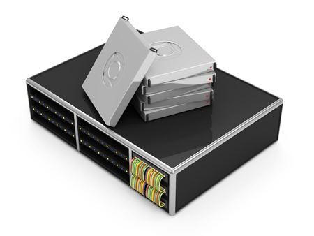 renderfarm: Server with Hard Drives isolated on white background