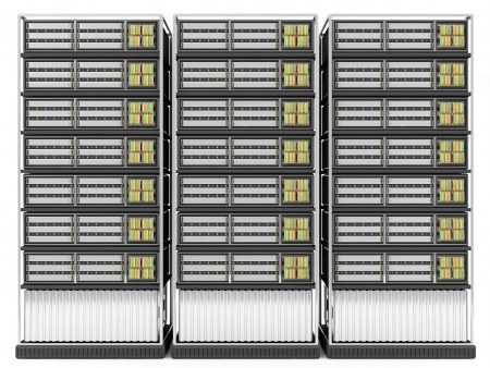 renderfarm: Computer Server Racks isolated on white background