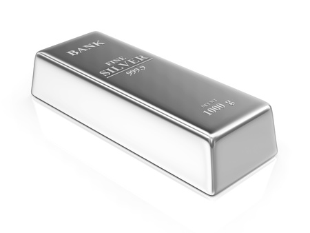 bullion: Silver Bar isolated on white background Stock Photo
