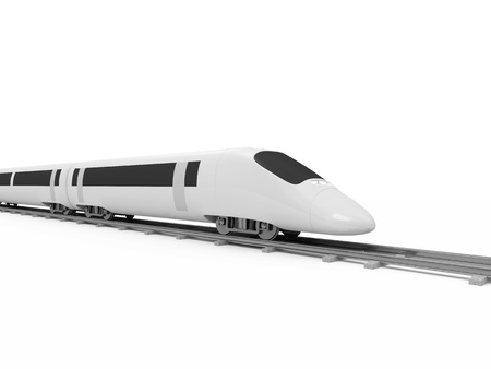 highspeed: 3d Illustration of Modern High-Speed Train isolated on white background