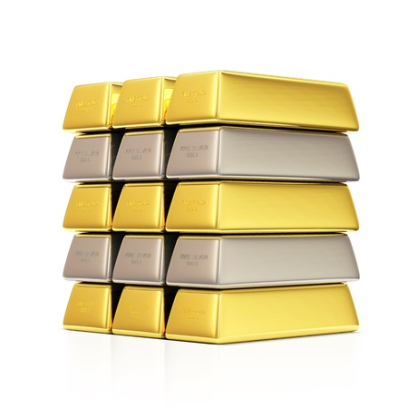 gold ingot: Golden and Silver Bars on white background