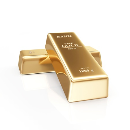 Two Golden Bars on white background photo