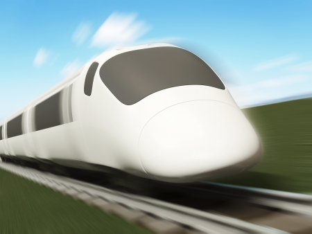 3d Illustration of Modern High-Speed Train with Motion Blur illustration