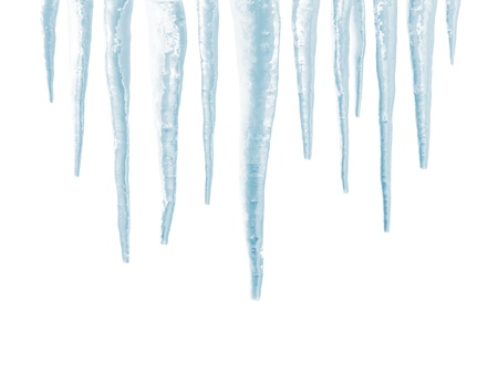 winter thaw: Icicles isolated on white background Stock Photo