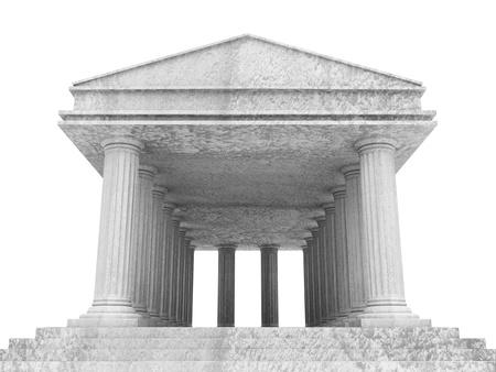 derecho romano: Classic Edificio antiguo aislado en el fondo blanco