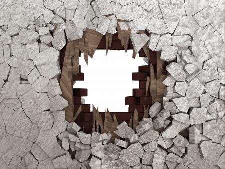 pared rota: Roto el muro de cemento aislado en fondo blanco