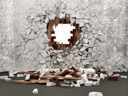 muro rotto: Camera grunge interni con parete rotto