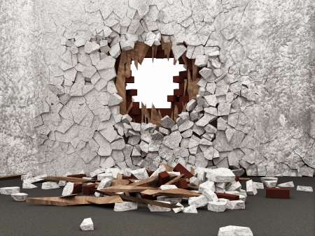 cracked cement: Grunge Room Interior with Broken Wall Stock Photo