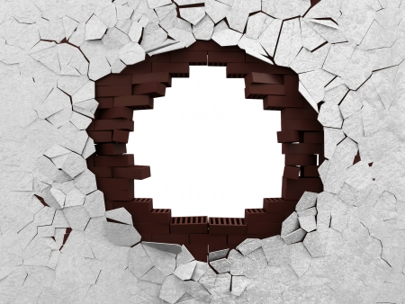 깨진 벽돌 벽은 흰색 배경에 고립