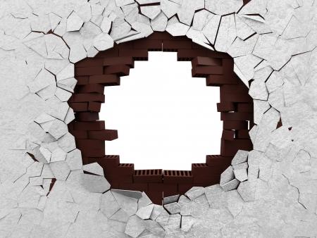 pared rota: Pared de ladrillo quebrada aislada en el fondo blanco