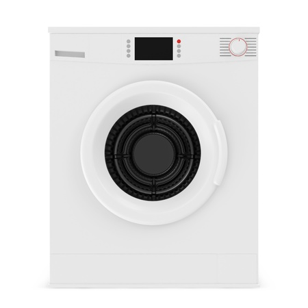 dirty clothes: Washing Machine isolated on white background Stock Photo