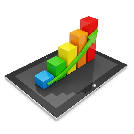 Tablet PC with Colorful Business Graph isolated on white background photo
