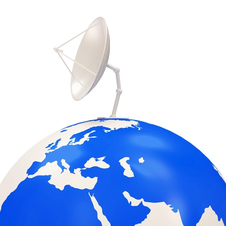 Dish Antenna on Earth Globe isolated on white background photo