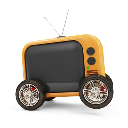 Retro TV on Wheels isolated on white background photo