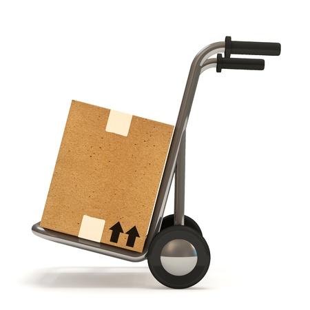 transportes: Carro de mano con una caja en el fondo blanco Concepto de entrega Foto de archivo