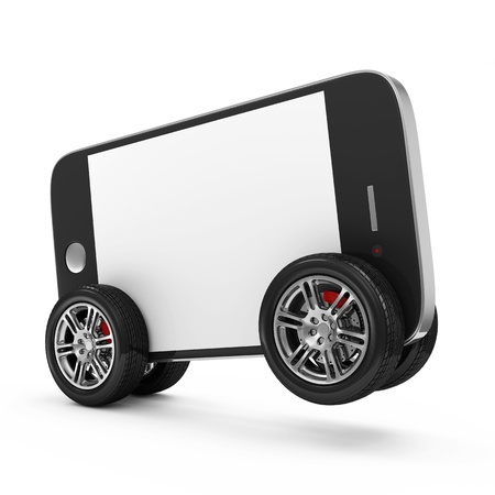 Smartphone with Blank Screen on Wheels isolated on white background