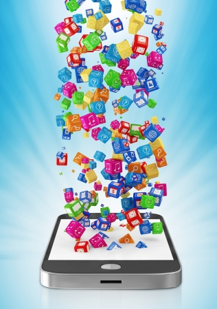 Touchscreen Smartphone with Application Icons on blue background photo