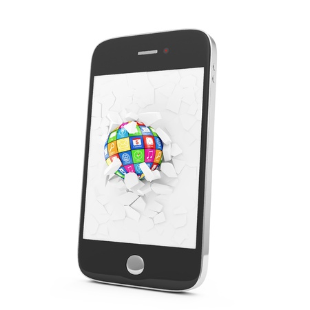 APPS Sphere Broken Smart Phone Display  Mobile APPS Concept photo
