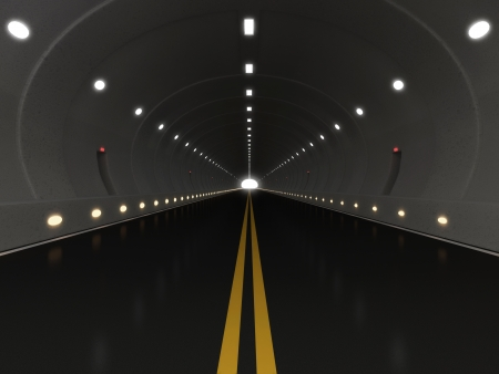 urban road: 3d Illustration of Urban Highway Road Tunnel Stock Photo