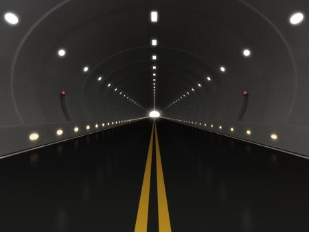 autobahn: 3d Illustration of Urban Highway Road Tunnel Stock Photo