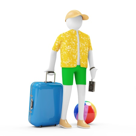 vocation: 3d Man Tourist with different accessories for vocation