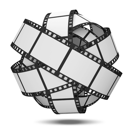 film roll: Abstract Sphere From Blank Film Strip isolated on white background Stock Photo