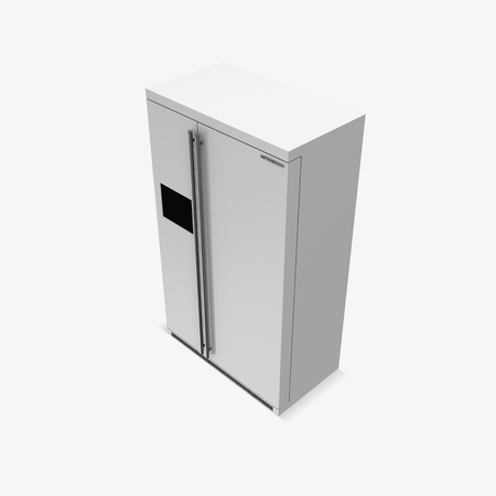Modern Refrigerator on white background photo