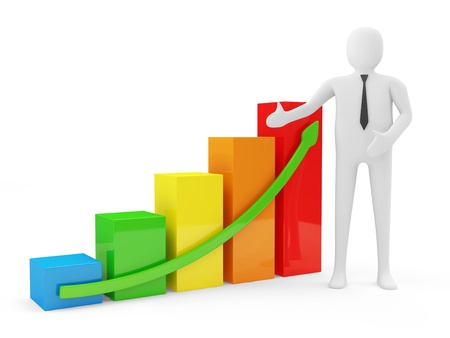 3d Man with Colorful Business Graph isolated on white background photo