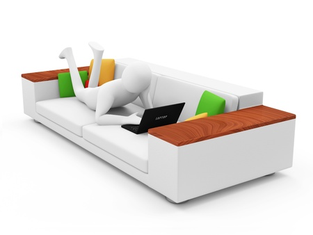 3d Man with Laptop Lying on a Sofa photo