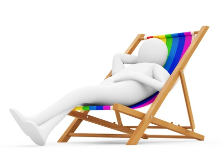 lazy: 3d Man Lying on a Beach Chair isolated on white background