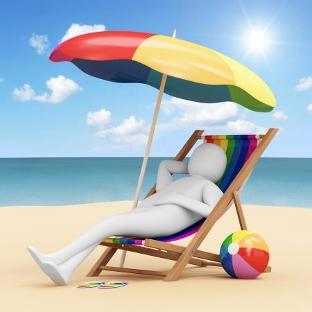 perezoso: 3d El hombre tumbado en una silla de playa con sombrilla y diferentes accesorios para las vacaciones cerca del Mar