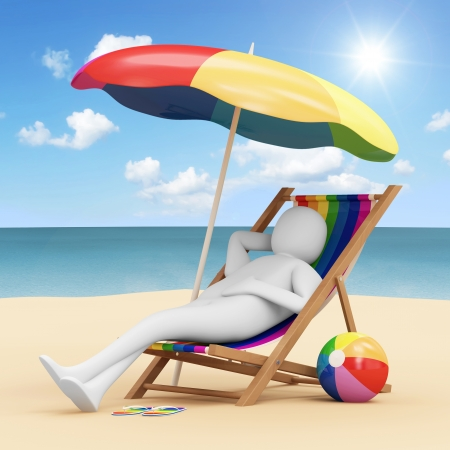 3d Man Lying on a Beach Chair with Umbrella and Different Accessories for Vacation near the Sea Stock Photo