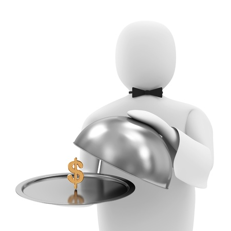 caterer: 3d Man Waiter with Golden Dollar Symbol on Silver Tray Stock Photo
