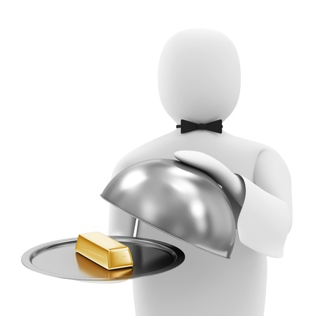 3d Man Waiter with Golden Bar on Silver Tray photo