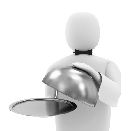 3d Man Waiter with Silver Tray with place for your object photo