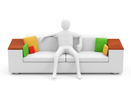 sit back: 3d Man Resting on Sofa Stock Photo