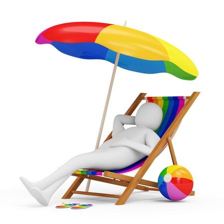 perezoso: 3d El hombre tumbado en una silla de playa con sombrilla y diferentes accesorios para vacaciones Foto de archivo