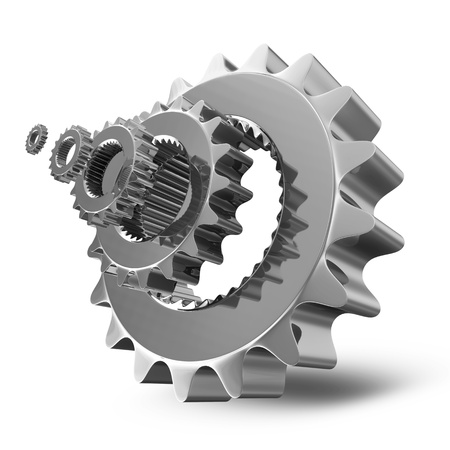 gears icon: Metal Gears on white background Stock Photo