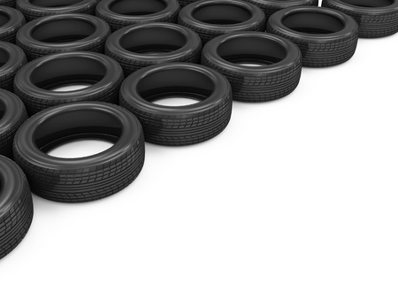 retreading: Car Tires isolated on white background with place for your text