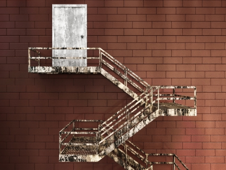 3d Illustration of Old External Fire Escape in a Building
