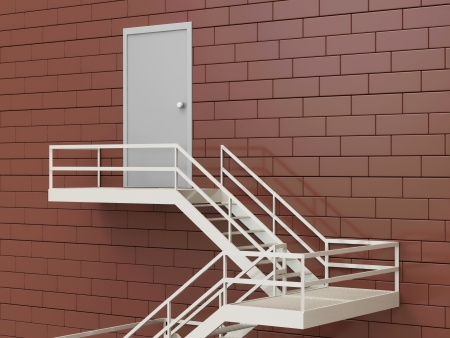 3d Illustration of External Fire Escape in a Building illustration