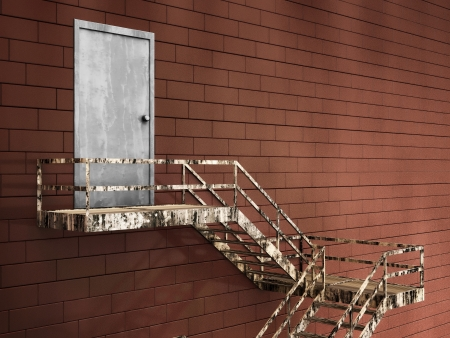 3d Illustration of Old External Fire Escape in a Building illustration