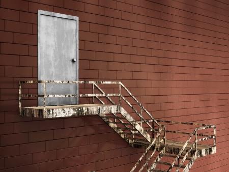 building external: 3d Illustration of Old External Fire Escape in a Building