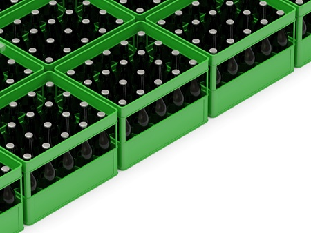 Group of Beer Crates isolated on white background with place for your text photo