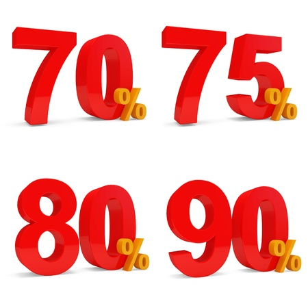 70 80: Set of Percent Discount  70 , 75 , 80 , 90   isolated on white background Stock Photo