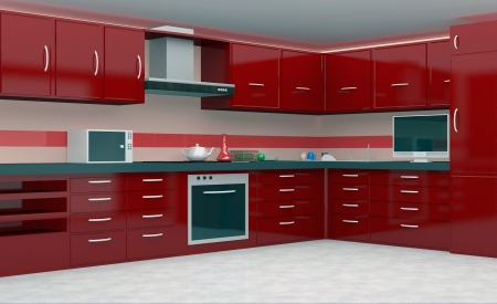 Modern Kitchen in red color photo